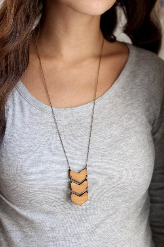 Geometric Bamboo Wood Triple Chevron Necklace