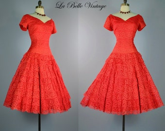 Red Lace Holiday Dress ~ Vintage 1950s Flamenco Full Circle Skirt ~ A New Deb Frock