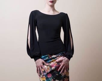 Black Bishop Sleeve Blouse-Made to Measure