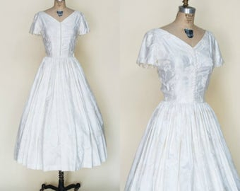 1950s Tea Length Wedding Dress --- Vintage Brocade Dress