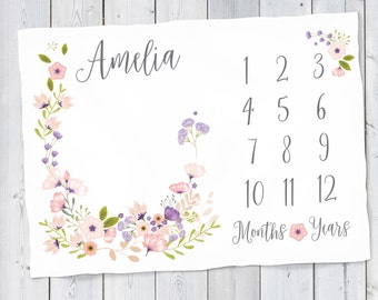 Baby Month Milestone Blanket- Blossom - Girl - Pink & Purple - Personalized Blanket - Track Growth and Age - New Mom Baby Shower Gift  30x40