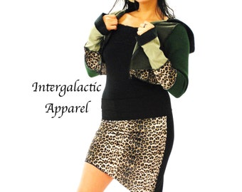 Crop Hoodie Leopard Print Stretch Velvet and Forest Green