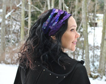 Headband - Boho Headband - Festival Headband - Dread Wrap - Hippie Headband - Hair Wrap - Purple Headband - Womens Headband