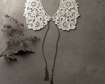 ivory lace collar   PICKFORD   peter pan collar / detachable collar / tassel necklace