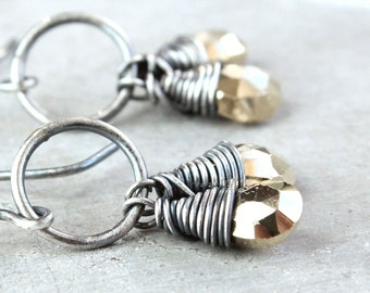 Pyrite Earrings Oxidized Silver Gemstone Jewelry Fools Gold Gem Stone Earrings Handmade Gifts For Her Wire Stone Jewelry
