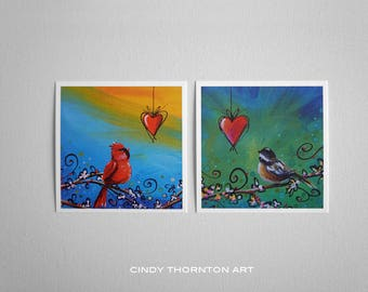 Song Bird Series Mini Print Set- Cardinal and Black-capped Chickadee - Signed