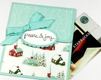 Christmas Gift Card Holder - Peace & Joy Holiday Money Card, Tip Envelope, Gift Card Sleeve, Winter