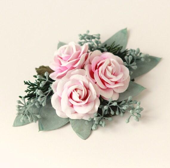 Eucalyptus rose hair clip, Woodland bridal clip, Natural foliage, Pink flower wedding hair clip, Unique bridal alternative, Spring wedding