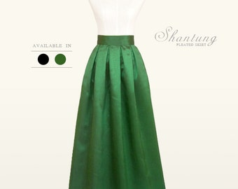 Shantung fully lined pleated long skirt with pockets - custom size, color, ankle, maxi, floor length ball gown formal skirt in black  green