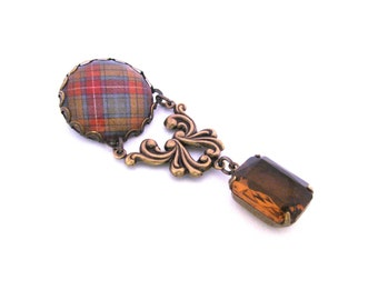 Scottish Tartan Jewelry  - Ancient Romance Series - Buchanan Old Sett Weathered Clan Ornate Filigree Brooch w/Whiskey Colored Glass Gem