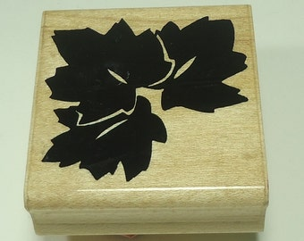 Solid Leaf Trio Wood Mounted Rubber Stamp By JRL Designs