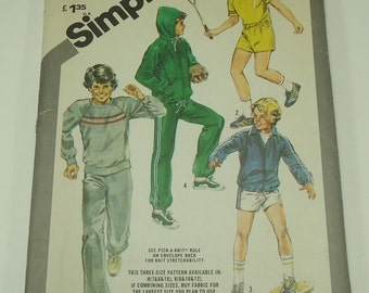 Simplicity Boys' Unlined Jacket With Or Without Hood, Pullover Tops, Pants And Shorts Pattern 5473 Size 8,10, 12 A Stretch Knit Pattern