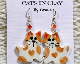 Ginger Rust Tabby Cat Shaped French Wire Earrings Handmade In Kiln Fired Clay