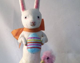 Spun cotton white rabbit with vintage pink duck figure by Maria Paula