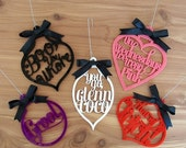 THANKSGIVING SALE Mean Girls Ornament Set - Set of 5 - Mean Girls Movie Quote -  Laser Cut Acrylic Ornaments