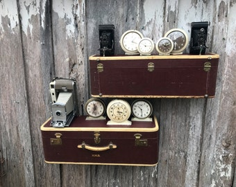 A Vintage Brown Tweed Osh Koch Suitcase Upcycled or Repurposed into a Pair of  Wall Shelves Suitcase Shelves