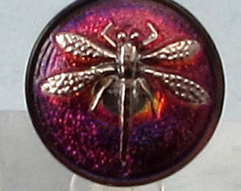 Czech Glass Button, Platinum Dragonfly, Purple, Pink, Blue, 18mm With Pendant Converter C353