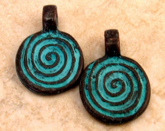 Mykonos Casting Small Spiral Pendant, Green Patina 2-Pc. M93