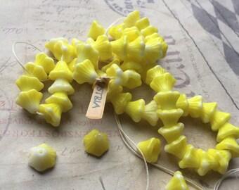 12 Vintage yellow flower beads