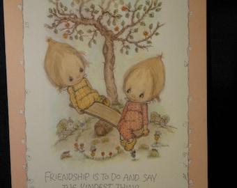 1975 Betsey Clark Kindred Spirit Calendar Postcard, Vintage Hallmark BETSEY CLARK Big Postcard 1970s Hallmark Cards Inc.
