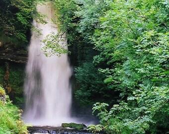 Glencar Waterfall, Ireland Decor, Art Print, Irish Photograph, Waterfall Artwork, Nature Photo, Wall Decor, Fine Art Photo, Green And Silver