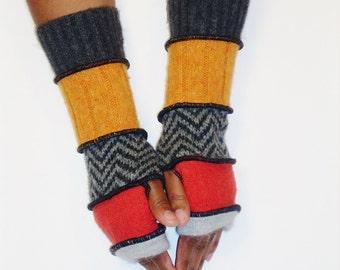 Fingerless Gloves, Armwarmers, Patchwork gloves (Light Grey/Pumpkin/Grey,Black ZigZag/Yellow Orange/Dk. Grey) by BrendaAbdullah