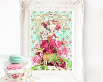 Marie Antoinette romantic vintage French art print, A4 giclee
