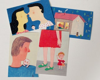 MY FAMILY, 4 postcards, home decor, wall decor, art, illustration