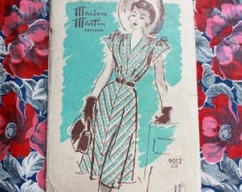 "1940s dress sewing pattern / Marian Martin 9012 / 40s wartime dress WW2 fashion / bust 30"" waist 25.5"""