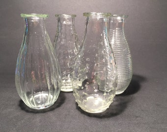 set of 4 clear glass vases