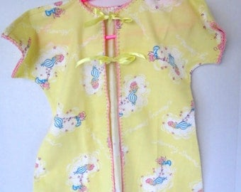 Vintage Baby Kimono - Flannel Baby Gown - Handmade  -Blanket Stitch - Novelty Fabric - Nightgown