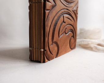 Carved Wood book Guest book Old Reclaimed