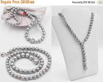 ON SALE Vintage Ross Simons Sterling Silver & Gray Pearl Strand Necklace, Circle Pearls, Graduated, Knotted, Clip Clasp, Versatile #b916