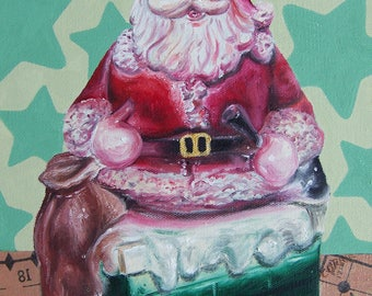 Vintage Santa Claus Chalkware Oil Painting