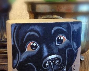 Dog Art/Dog Painting/Black Lab/Labrador Retriever/Art For Kids/Kids Room Decor/Upcycled Art/Animal Art/Pet Portrait/Animal Decor