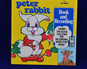 Peter Rabbit - Vintage 45 RPM Peter Pan Read-Along LP Book and Record Set #1949 -Illustrated-Recorded by Peter Pan Industries Newark c. 1981