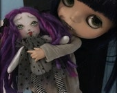 Tiny Rag Doll for Your or Your Dolls, Purple Hair Polka Dot Goth Girl