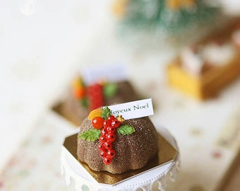 Dollhouse Christmas Food - Christmas Chocolate Bundt Cake