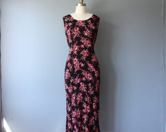 vintage 90s dress / black pink floral crinkle dress / tie back grunge dress / size 10