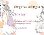 Special Intro Price -In My Gaze - Instant Download Digital Stamp / Japanese Kimono Butterfly Coloring Line Art Fairy Girl by Ching-Chou Kuik