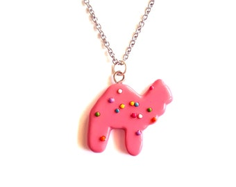 Circus Animal Cookies Necklace Frosted Animal Cookie Necklace Animal Crackers Kawaii Pink Rainbow Sprinkles Cookie Miniature Food Jewelry
