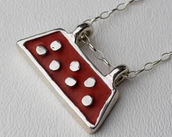 Silver Concrete Necklace Trapezoid Shape Sterling Silver Red Boho Chic Bohemian Dot Industrial Pendant