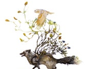 the complexity of our task at hand - silver fox and barn owl - Original Giclee Edition Print - 13x19""