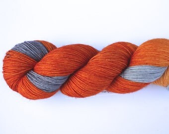 Carrot Top--hand dyed sock yarn, BFL and nylon, (464yds/100gm)