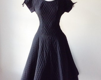 Black quilted dress   vintage 1950s dress   50s dropwaist party dress
