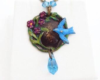 Florene - vintage style blue bird necklace - Swarovski crystal - painted pendant - aquamarine blue - blue bird necklace - sparrow - spring