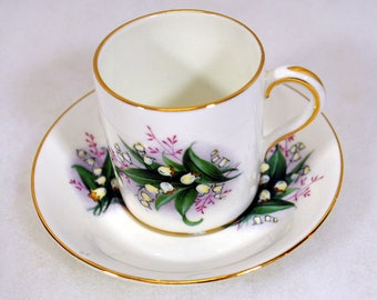 Vintage Paragon English Demitasse Cup and Saucer Set - Lily of the Valley - Bone China - Made in England - Straight Sides - Espresso