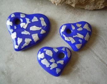 Cast Glass Hearts. Dark Blue and Fine Silver. Handmade Pendant Bead Set.  C-03
