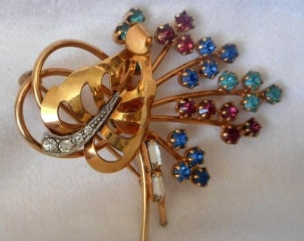 VINTAGE Colorful Rhinestone Flower Bouquet in Gold Filled Costume Jewelry Brooch