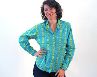 Pascale, Mod Shirt M L, 60s Mod Blouse, Blue & Yellow Print Shirt, 60s Cotton Women's Shirt, Flower Tile Print Blouse, Bright Hipster Shirt